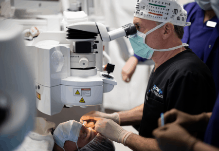 specialist performs lasik surgery